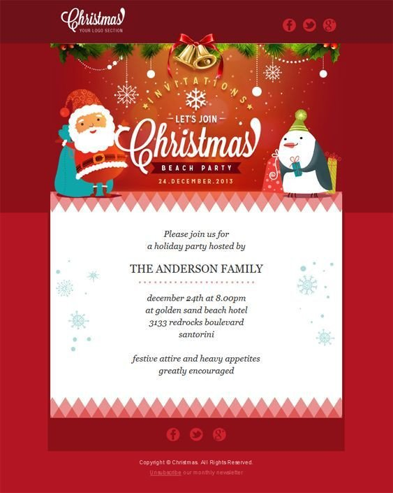 Free Christmas Email Template 22 Inspirational Christmas HTML Email Templates