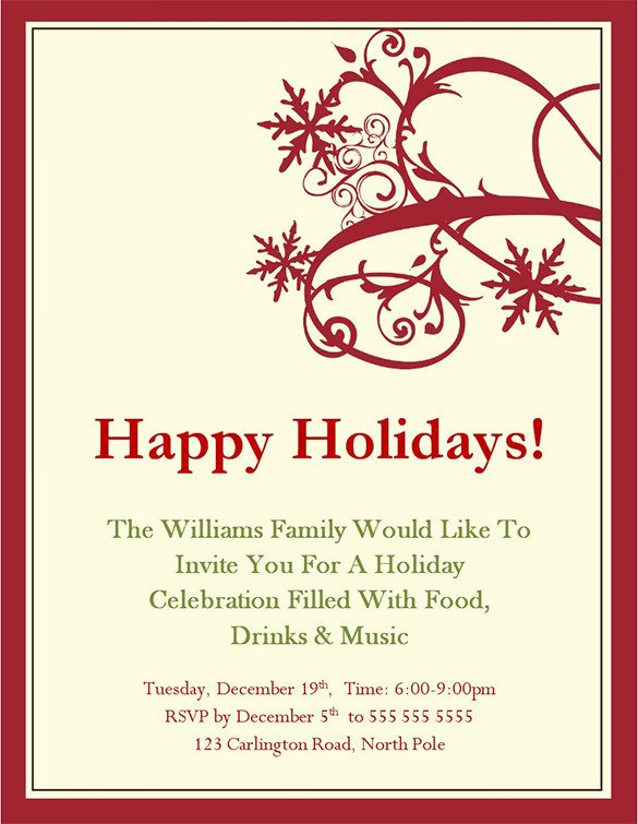 Free Christmas Party Invitation Templates Holiday Invitation Template – 17 Psd Vector Eps Ai Pdf