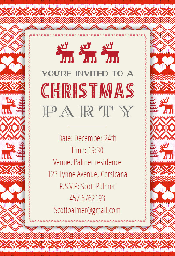 Free Christmas Party Invitation Templates Sweaters Pattern Christmas Invitation Template Free