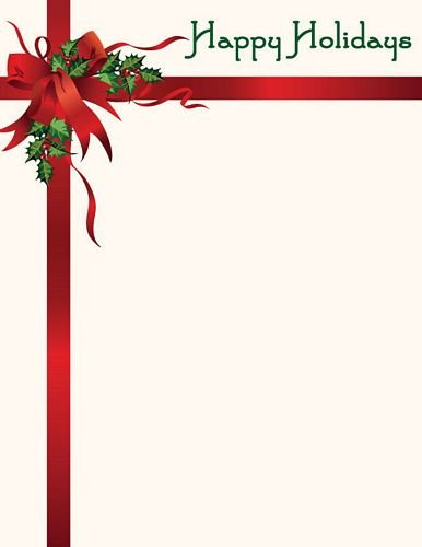Free Christmas Stationery Templates Christmas Letterhead Happy Holidays Stationery
