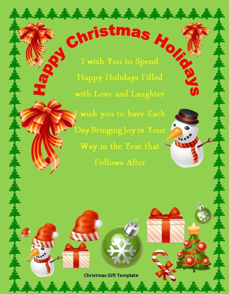 Free Christmas Templates for Word 10 Christmas Gift Templates