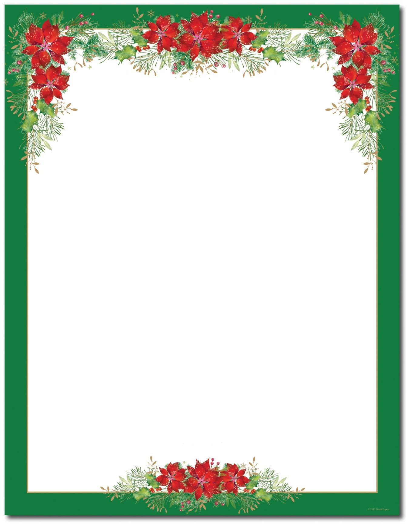 Free Christmas Templates for Word Poinsettia Valance Letterhead Holiday Papers