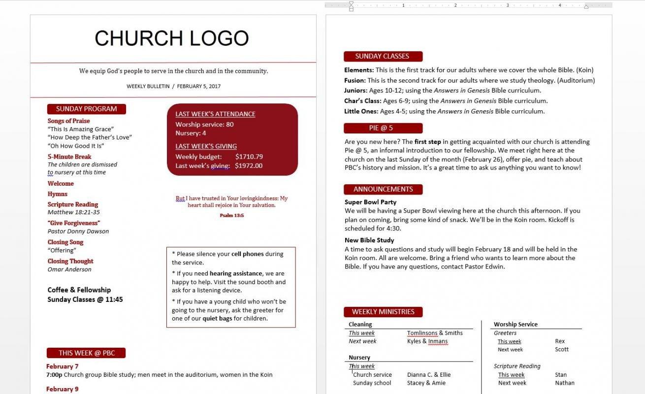 Free Church Bulletin Templates Church Bulletin Templates