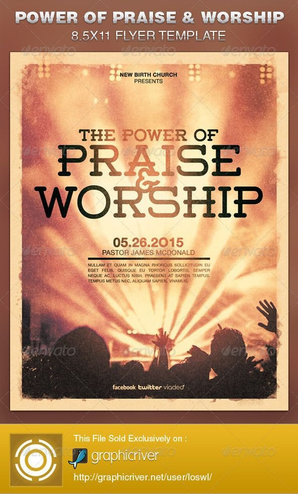Free Church Flyer Templates Power Of Praise and Worship Church Flyer Template