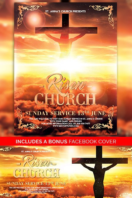 Free Church Flyer Templates Risen Church Free Poster Template