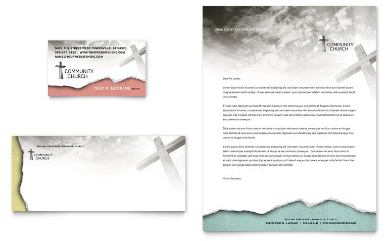 Free Church Letterhead Templates Bible Church Business Card & Letterhead Template Word