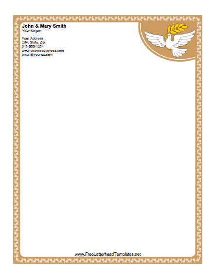 Free Church Letterhead Templates Dove Letterhead