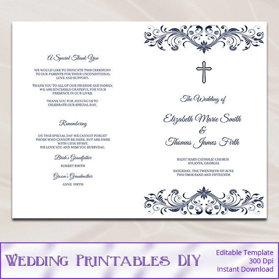 Free Church Programs Template Catholic Wedding Program Template Diy Navy Blue Cross