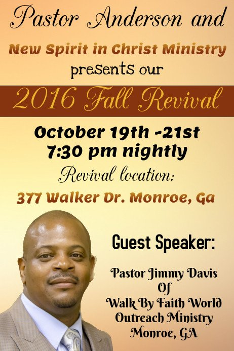 Free Church Revival Flyer Template Church Fall Revival Template