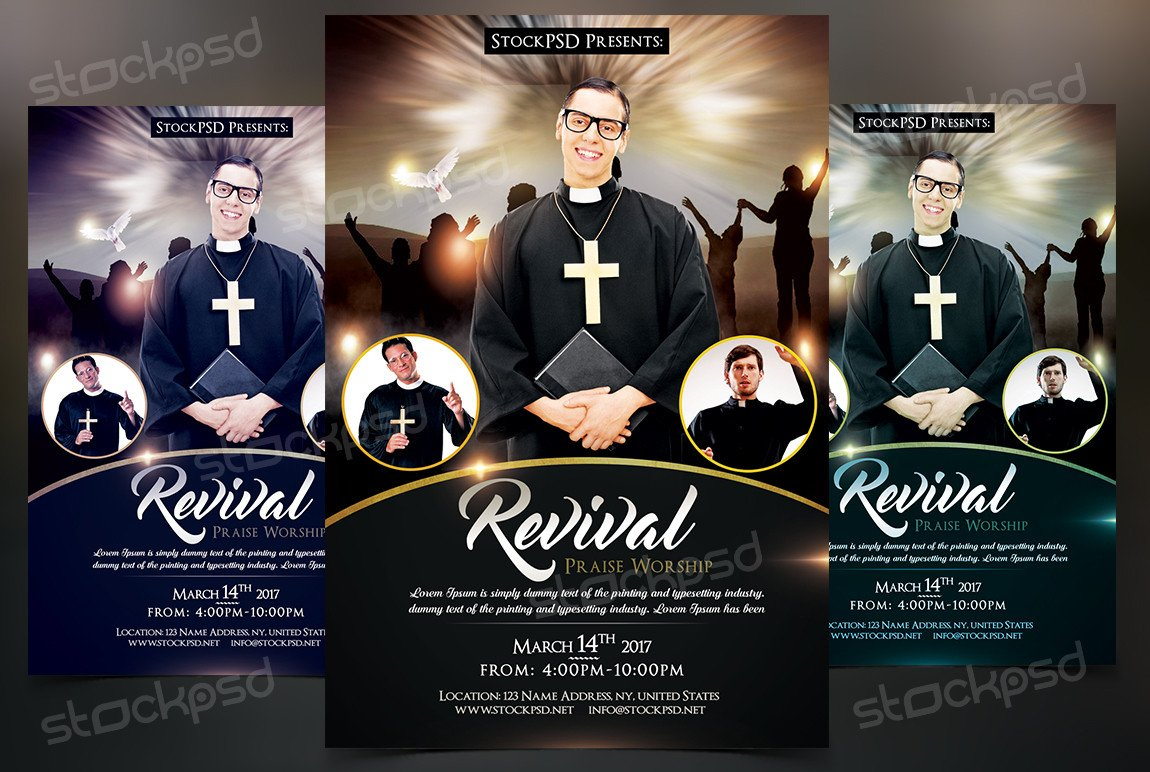 Free Church Revival Flyer Template Revival Free Church & Pastor Psd Flyer Template On Behance