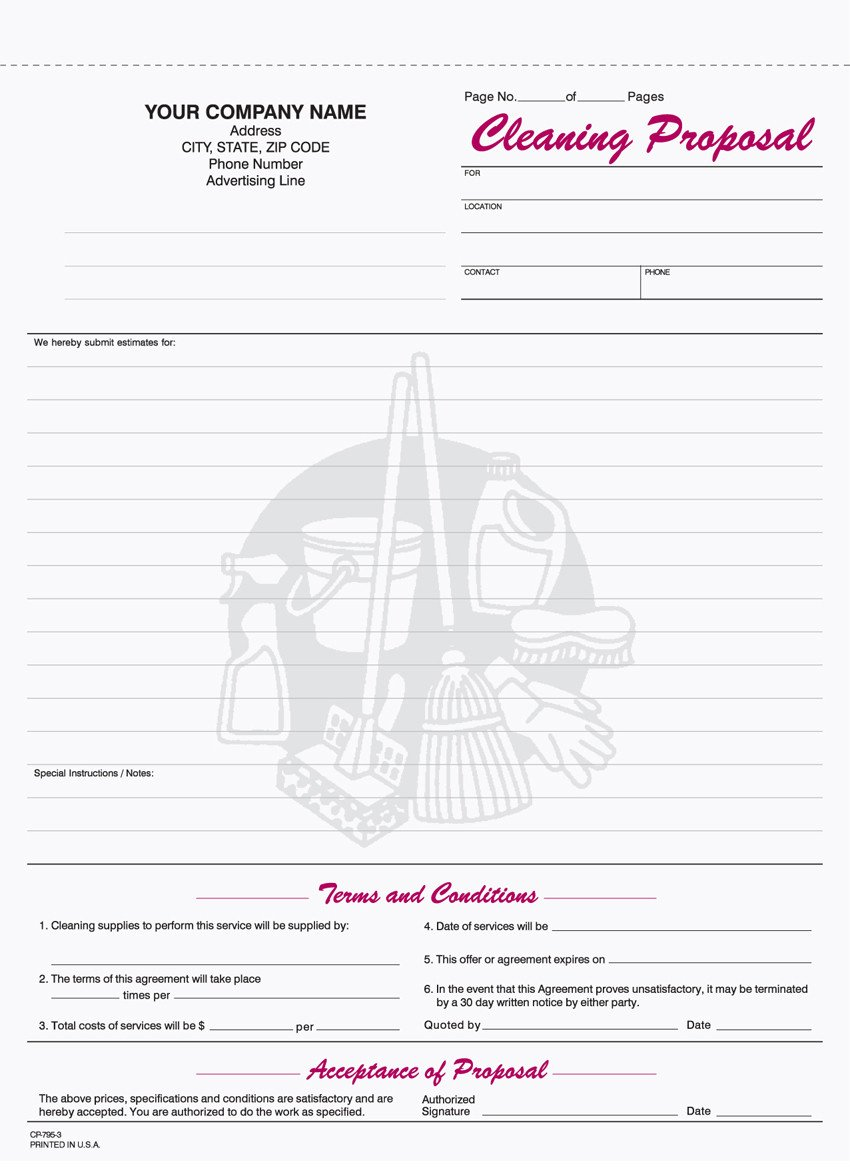 Free Cleaning Proposal Template 9 Best Of Free Printable Cleaning Business forms