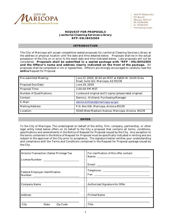 Free Cleaning Proposal Template Request for Proposals Janitorial Cleaning Services Library