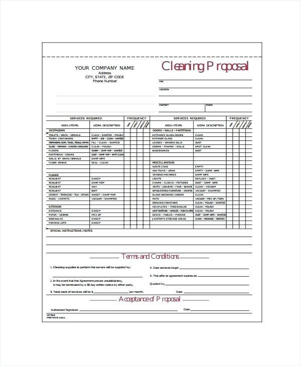 Free Cleaning Proposal Template Tender Template Word