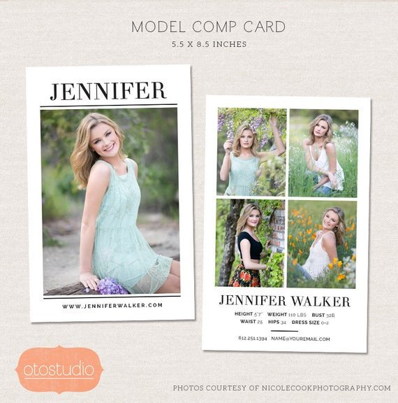 Free Comp Card Template Model P Card Shop Template Simple Chic Cm004
