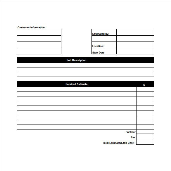 Free Construction Estimate Template Pdf 26 Blank Estimate Templates Pdf Doc Excel Odt