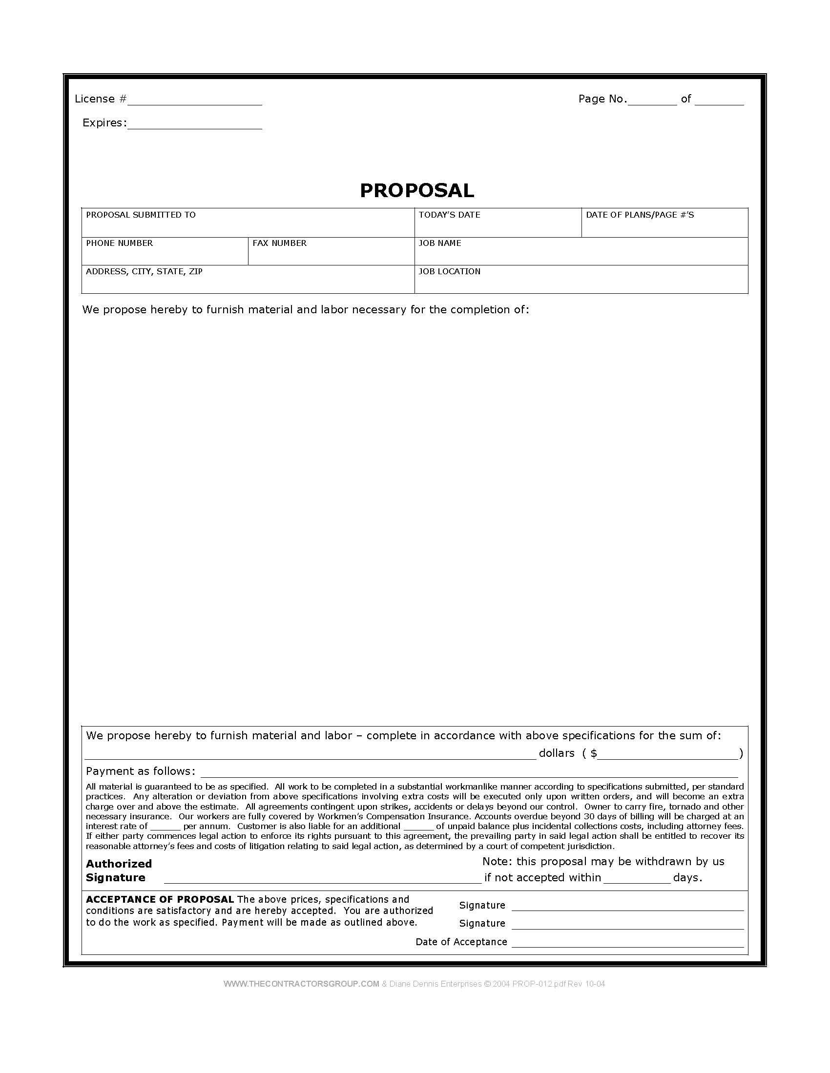 Free Construction Estimate Template Pdf Free Print Contractor Proposal forms