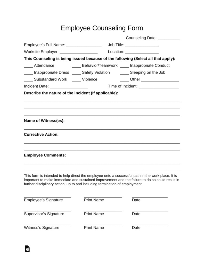 Free Counseling forms Templates Free Employee Counseling form Pdf Word