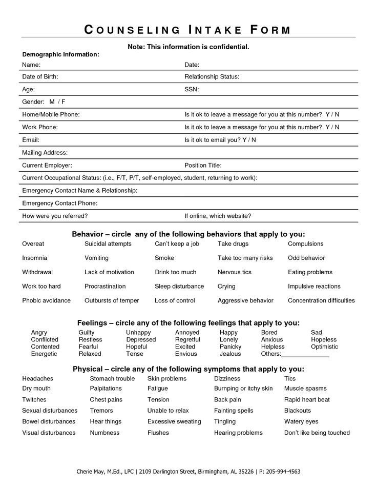 Free Counseling forms Templates Intake form for Counseling Clients Google Search
