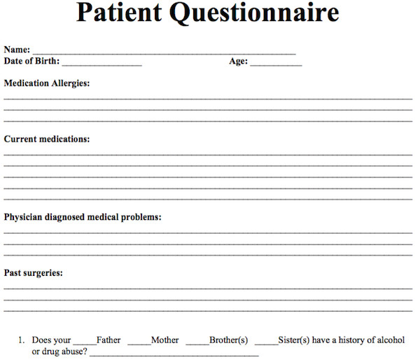 Free Counseling forms Templates Patient Questionnaire