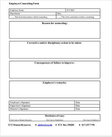 Free Counseling forms Templates Sample Employee Counseling form 9 Examples In Word Pdf