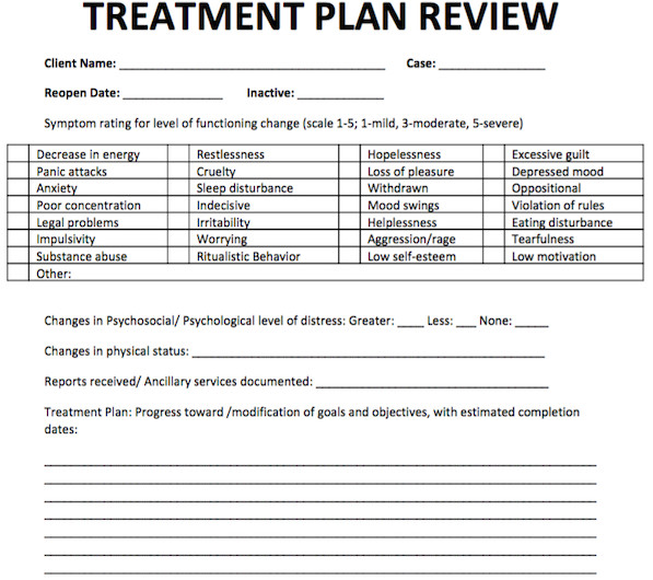 Free Counseling forms Templates Treatment Plan Review