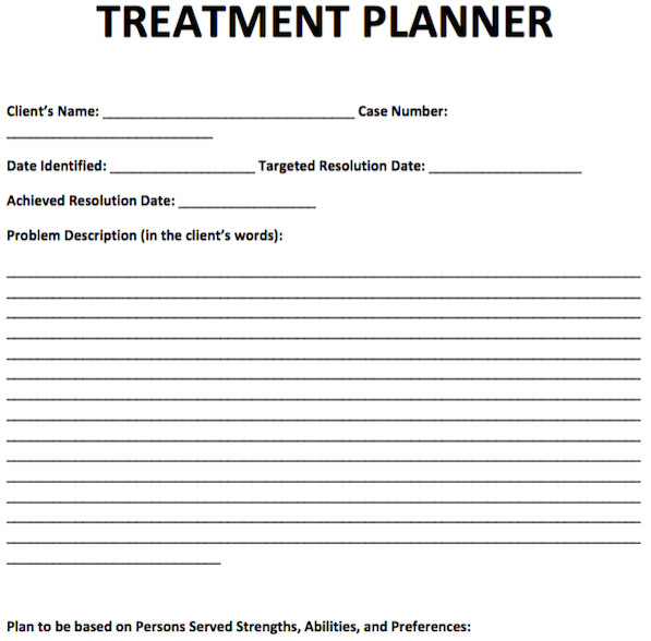 Free Counseling forms Templates Treatment Planner Template