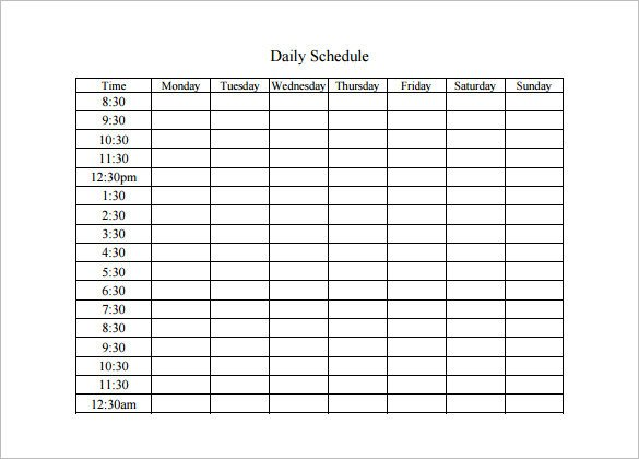 Free Daily Schedule Template Daily Schedule Template 5 Free Word Excel Pdf