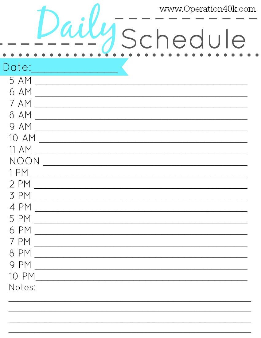 Free Daily Schedule Template Free Printable Daily Schedule Tips