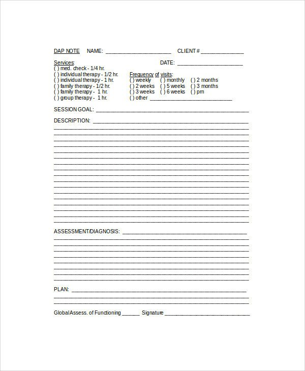 Free Dap Note Template 6 Sample Dap Notes Pdf Doc