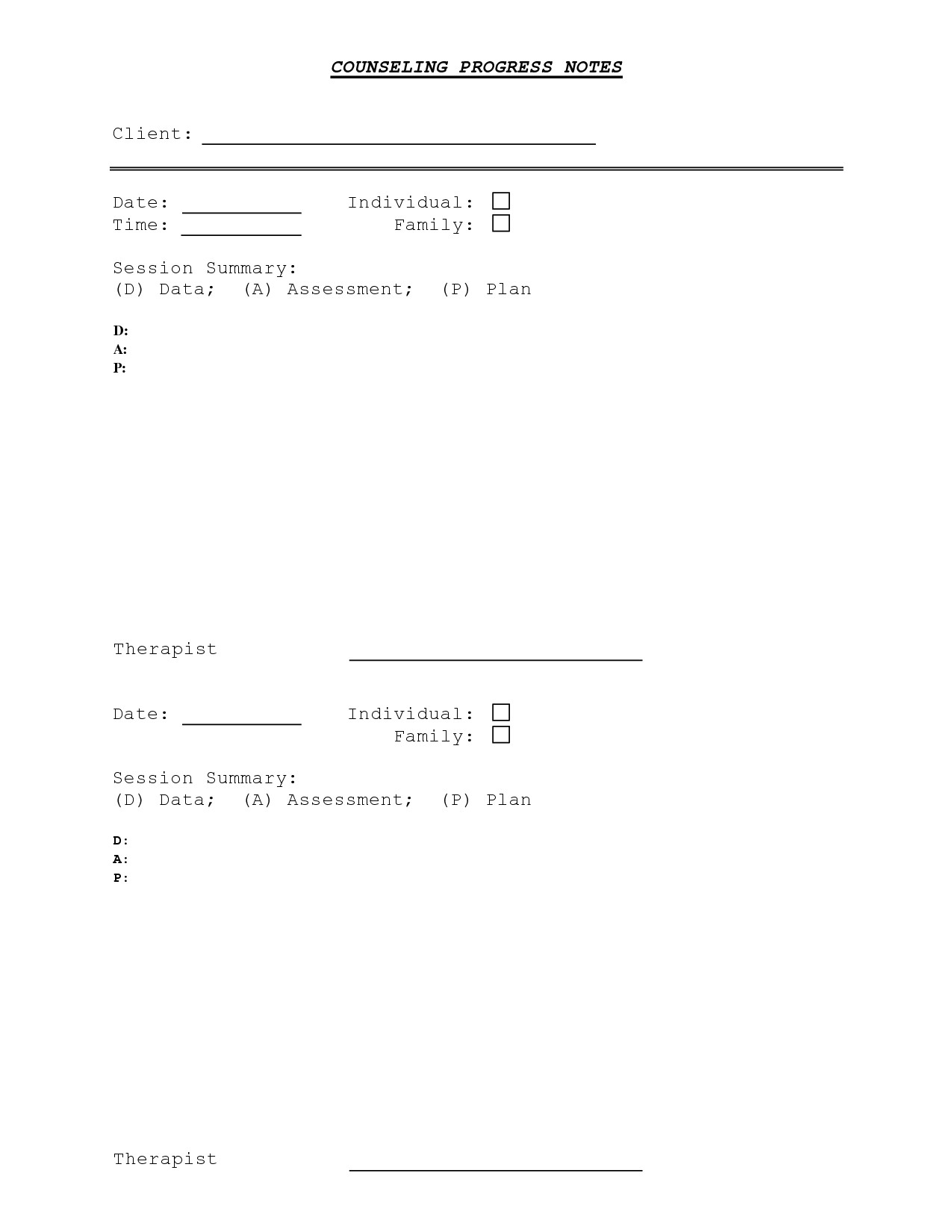 Free Dap Note Template Counseling Progress Note Template