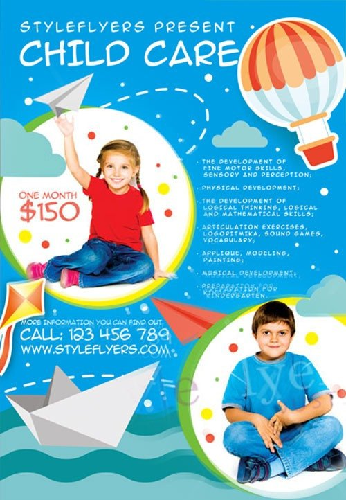 Free Daycare Flyer Templates Child Care Free Flyer Template Download for Shop