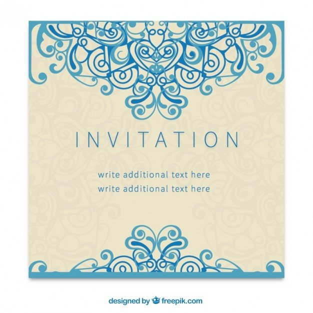 Free Download Invite Templates Retro Invitation In ornamental Style Vector
