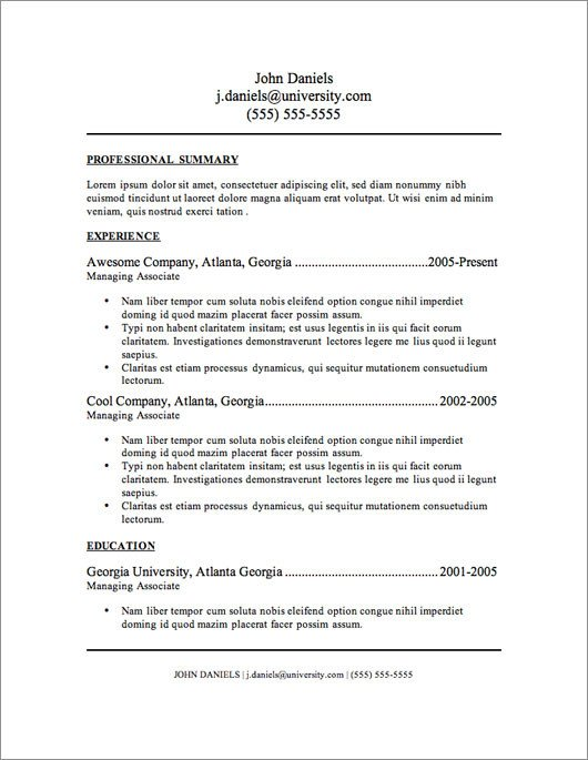 Free Download Resume Templates 12 Resume Templates for Microsoft Word Free Download