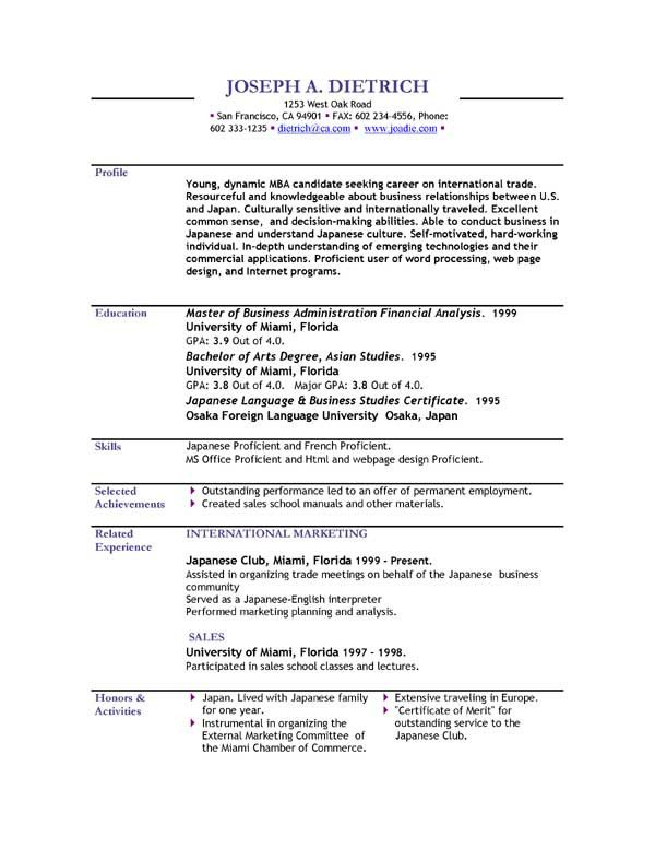 Free Download Resume Templates Resume Templates