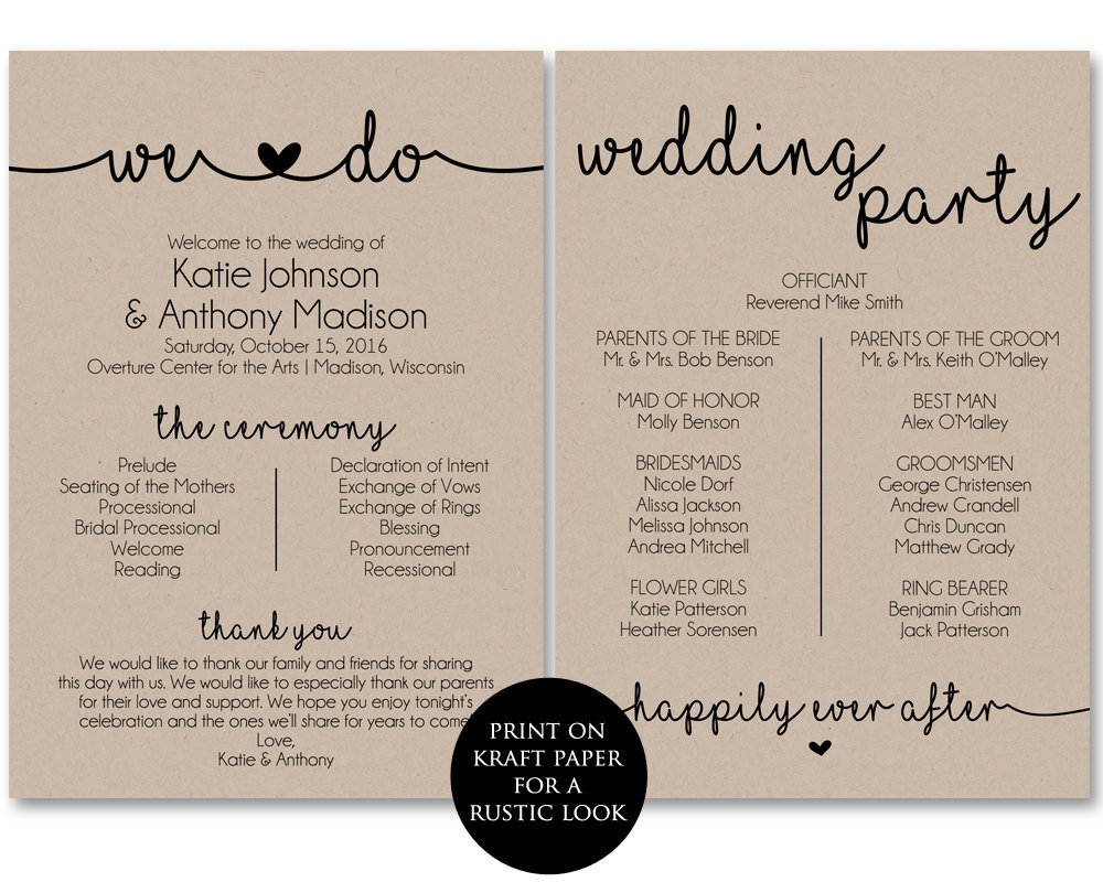Free Downloadable Wedding Program Templates Ceremony Program Template Printable Wedding Programs