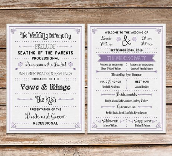 Free Downloadable Wedding Program Templates Free Printable Wedding Program