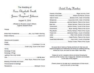 Free Downloadable Wedding Program Templates Free Wedding Program Templates