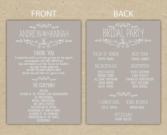 Free Downloadable Wedding Program Templates Items Similar to Wedding Program Wedding Reception