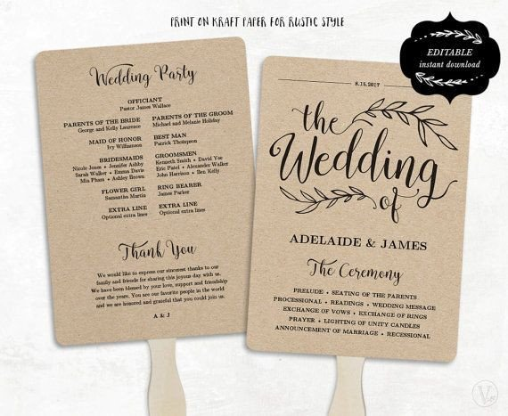 Free Downloadable Wedding Program Templates Printable Wedding Program Template Rustic Wedding Fan