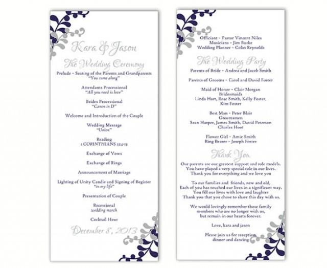 Free Downloadable Wedding Program Templates Wedding Program Template Diy Editable Word File Instant