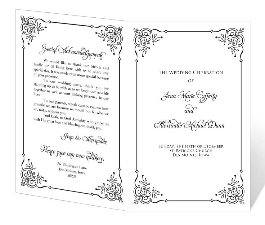 Free Downloadable Wedding Program Templates Wedding Program Template Printable Instant Download