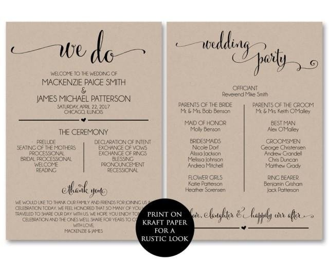Free Downloadable Wedding Program Templates Wedding Program Template Wedding Program Printable We Do
