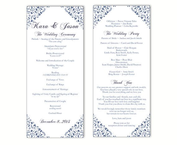 Free Downloadable Wedding Program Templates Wedding Program Template Word