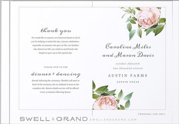 Free Downloadable Wedding Program Templates Wedding Program Templates – 15 Free Word Pdf Psd