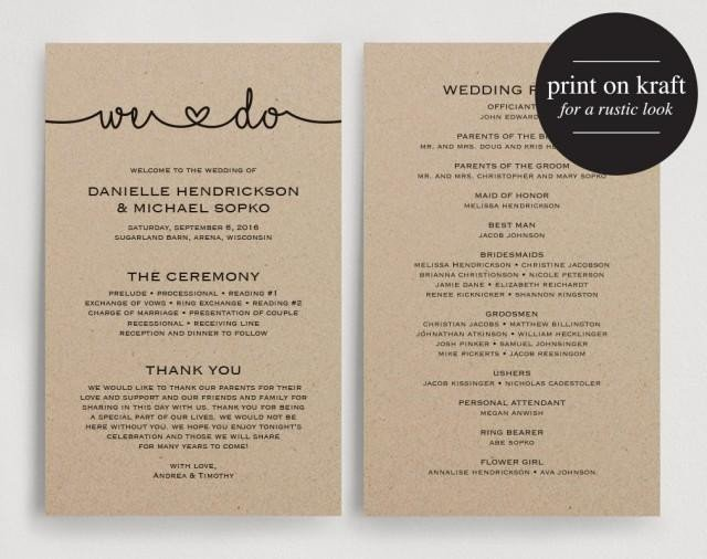 Free Downloadable Wedding Program Templates Wedding Programs Instant Download Printable Template