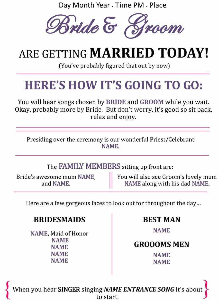 Free Downloadable Wedding Programs Templates 37 Printable Wedding Program Examples & Templates