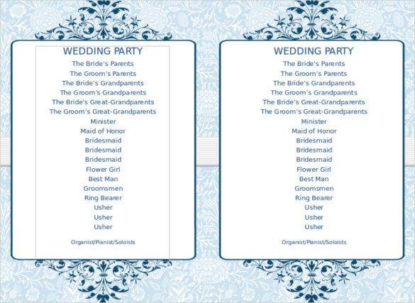 Free Downloadable Wedding Programs Templates 8 Word Wedding Program Templates Free Download