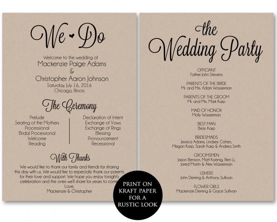 Free Downloadable Wedding Programs Templates Ceremony Program Template Wedding Program Printable We