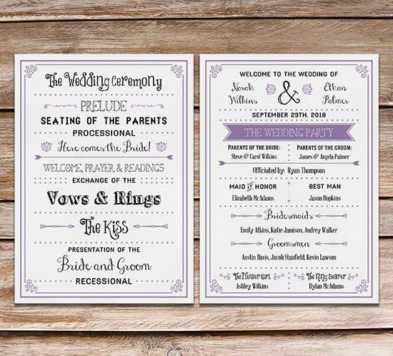 Free Downloadable Wedding Programs Templates Free Printable Wedding Program