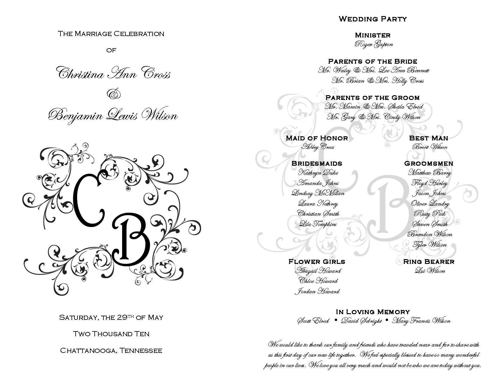 Free Downloadable Wedding Programs Templates Printable Wedding Programs On Pinterest